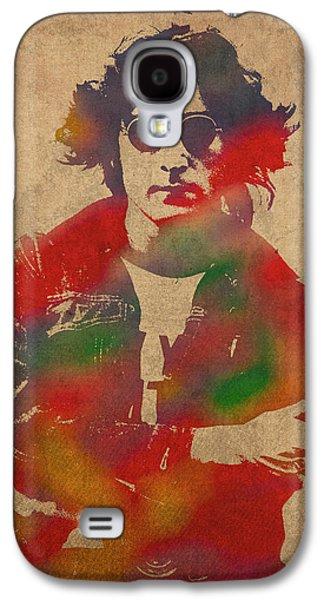 John Lennon Galaxy S4 Cases - John Lennon Watercolor Portrait on Worn Distressed Canvas Galaxy S4 Case by Design Turnpike