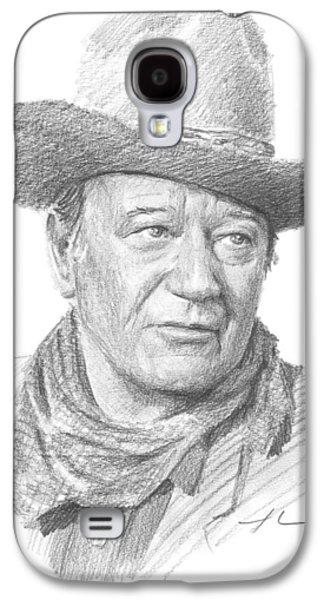 John Wayne Drawings Galaxy S4 Cases - John Wayne Pencil Portrait Galaxy S4 Case by Mike Theuer
