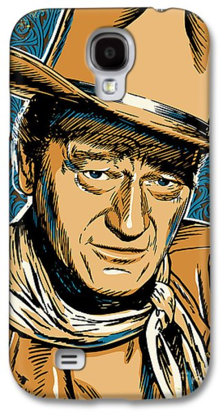 Western Art Digital Art Galaxy S4 Cases - John Wayne Pop Art Galaxy S4 Case by Jim Zahniser