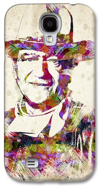 Western Art Digital Art Galaxy S4 Cases - John Wayne Portrait Galaxy S4 Case by Aged Pixel