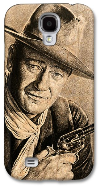 John Wayne Drawings Galaxy S4 Cases - John Wayne sepia scratch Galaxy S4 Case by Andrew Read