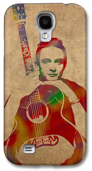 Johnny Cash Watercolor Portrait On Worn Distressed Canvas Galaxy S4 Case by Design Turnpike