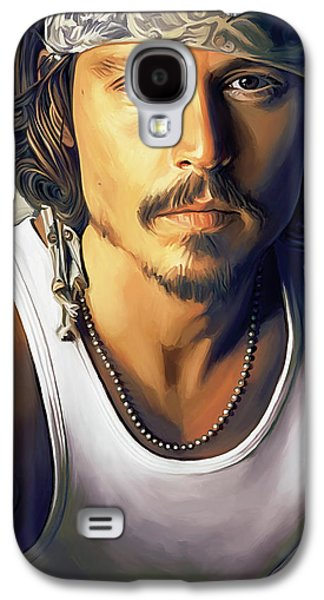 Celebrities Mixed Media Galaxy S4 Cases - Johnny Depp Artwork Galaxy S4 Case by Sheraz A