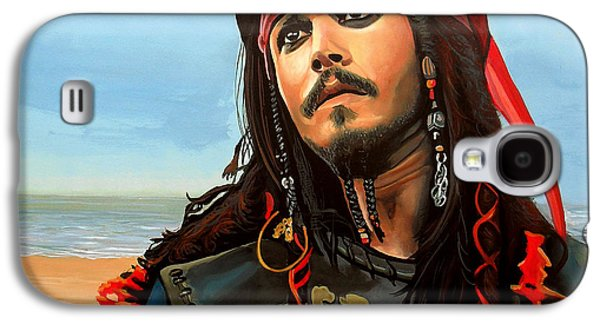 Work Of Art Galaxy S4 Cases - Johnny Depp as Jack Sparrow Galaxy S4 Case by Paul  Meijering