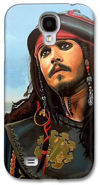 Symbol Paintings Galaxy S4 Cases - Johnny Depp as Jack Sparrow Galaxy S4 Case by Paul  Meijering