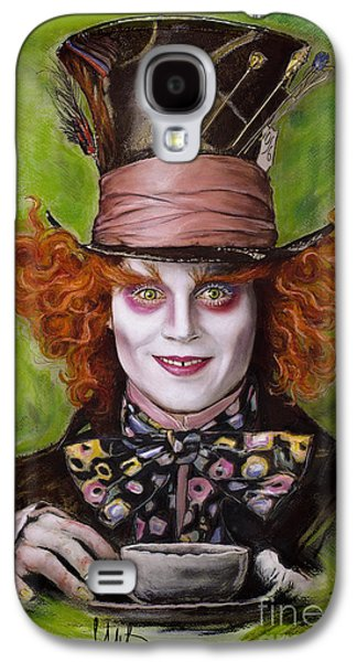Celebrities Pastels Galaxy S4 Cases - Johnny Depp as Mad Hatter Galaxy S4 Case by Melanie D