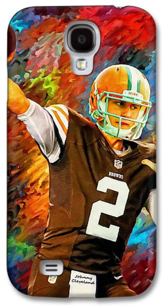 Nike Digital Galaxy S4 Cases - Johnny Manziel Cleveland Browns Football Art Painting Galaxy S4 Case by Andres Ramos