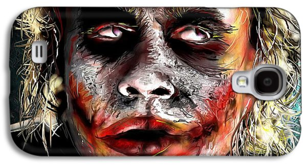 Joker Dark Knight Heath Ledger Movie Actor Galaxy S4 Cases - Joker Painting Galaxy S4 Case by Daniel Janda