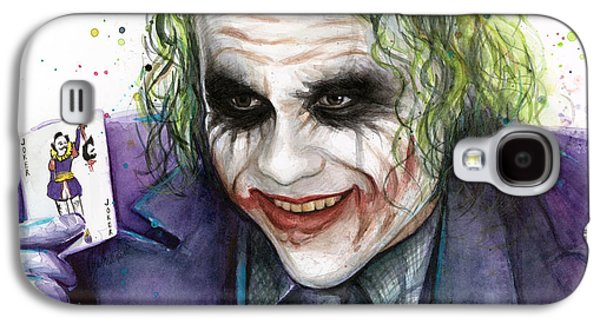 Joker Watercolor Portrait Galaxy S4 Case by Olga Shvartsur