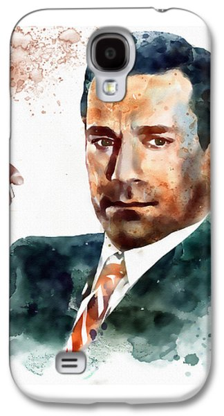 Smoke Digital Galaxy S4 Cases - Jon Hamm as Don Draper watercolor portrait  Galaxy S4 Case by Marian Voicu