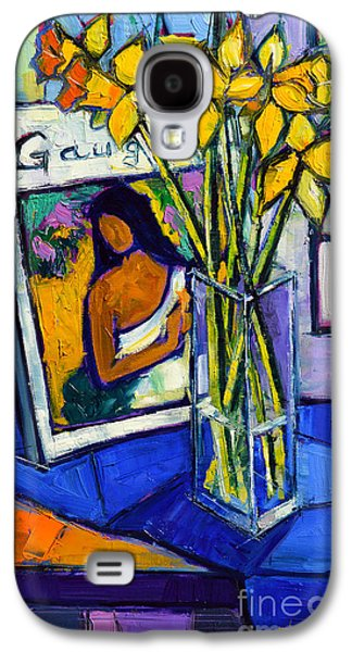Interior Still Life Paintings Galaxy S4 Cases - Jonquils And Gauguin Galaxy S4 Case by Mona Edulesco