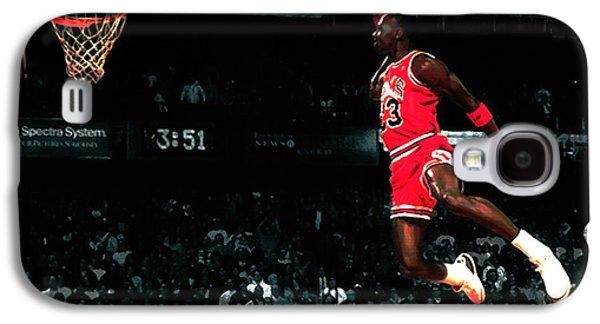 Dunk Mixed Media Galaxy S4 Cases - Jordan In Flight Galaxy S4 Case by Brian Reaves
