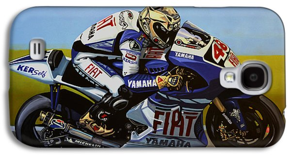 Athletes Paintings Galaxy S4 Cases - Jorge Lorenzo Galaxy S4 Case by Paul Meijering