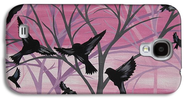 Flock Of Birds Paintings Galaxy S4 Cases - Joy at Sunset Galaxy S4 Case by Cathy Jacobs