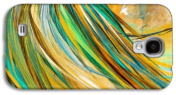 Kentucky Derby Galaxy S4 Cases - Joyous Soul- Yellow And Turquoise Artwork Galaxy S4 Case by Lourry Legarde