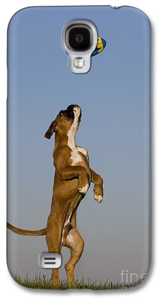 Boxer Galaxy S4 Cases - Jumping Boxer Puppy Galaxy S4 Case by Jean-Louis Klein and Marie-Luce Hubert