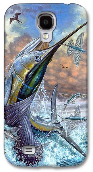 Flying Galaxy S4 Cases - Jumping Sailfish And Flying Fishes Galaxy S4 Case by Terry Fox
