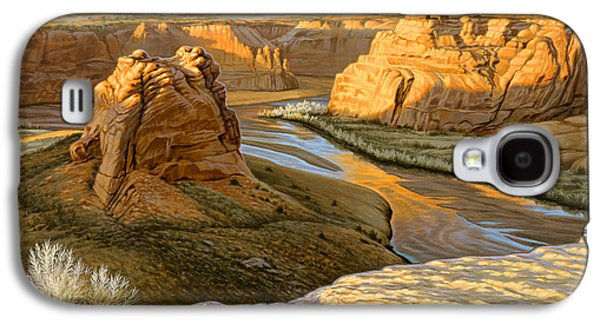 National Park Paintings Galaxy S4 Cases - Junction Overlook - Canyon DeChelly Galaxy S4 Case by Paul Krapf