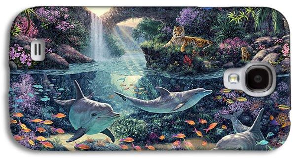 Dolphin Digital Art Galaxy S4 Cases - Jungle Paradise Galaxy S4 Case by Steve Read