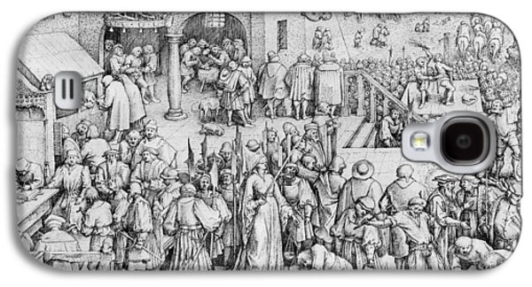 Male Drawings Galaxy S4 Cases - Justice Galaxy S4 Case by Pieter the Elder Bruegel