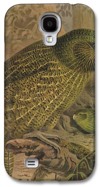 Ornithology Paintings Galaxy S4 Cases - Kakapo Galaxy S4 Case by J G Keulemans