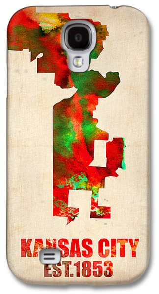 Midwest Galaxy S4 Cases - Kansas City Watercolor Map Galaxy S4 Case by Naxart Studio