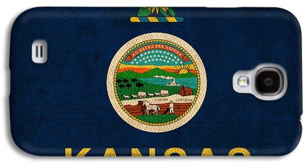 Kansas Galaxy S4 Cases - Kansas State Flag Art on Worn Canvas Galaxy S4 Case by Design Turnpike