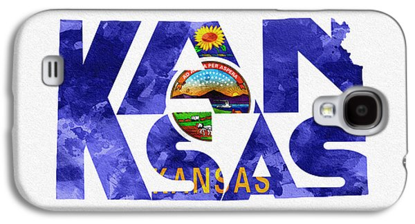 Print Pyrography Galaxy S4 Cases - Kansas Typographic Map Flag Galaxy S4 Case by Ayse Deniz