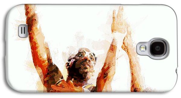 Slam Galaxy S4 Cases - Kareem Abdul Jabbar N B A Legend Galaxy S4 Case by Daniel Hagerman