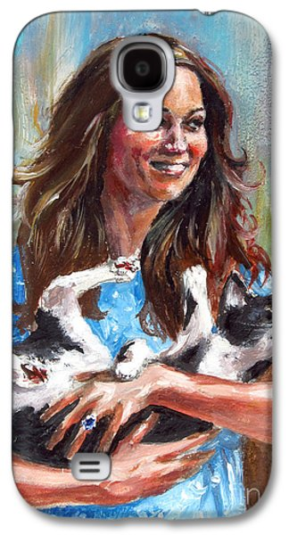 Kate Middleton Paintings Galaxy S4 Cases - Kate Middleton Duchess of Cambridge and her royal baby cat Galaxy S4 Case by Daniel Cristian Chiriac