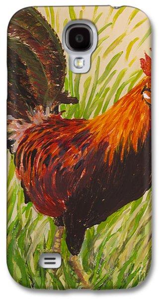 Bright Colors Glass Art Galaxy S4 Cases - Kauai Rooster Galaxy S4 Case by Anna Skaradzinska
