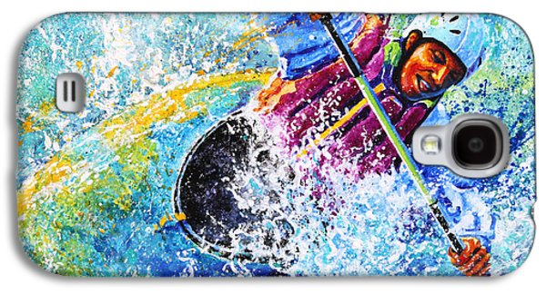 Canadian Sports Paintings Galaxy S4 Cases - Kayak Crush Galaxy S4 Case by Hanne Lore Koehler