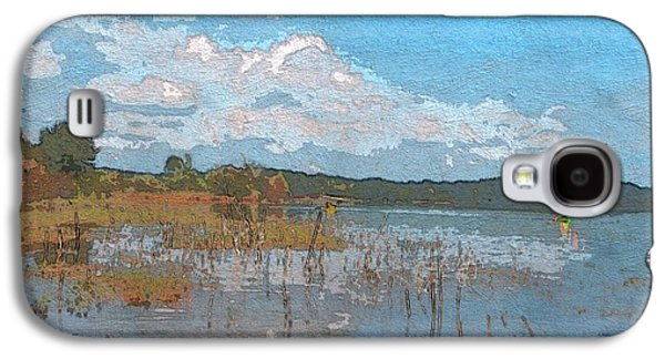 Gold Lime Green Galaxy S4 Cases - Kayaking At Lake Juliette Galaxy S4 Case by Donna Brown
