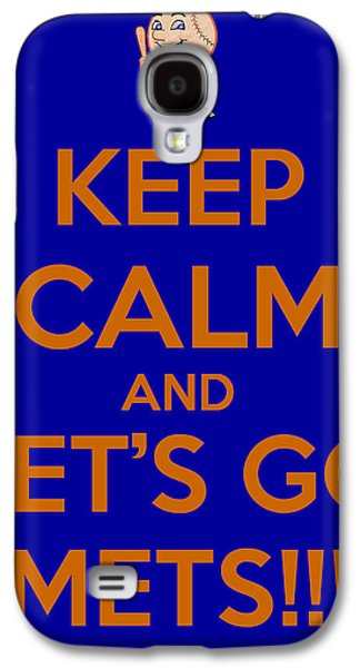 Cheer On Galaxy S4 Cases - Keep Calm and Lets Go Mets Galaxy S4 Case by James Kirkikis