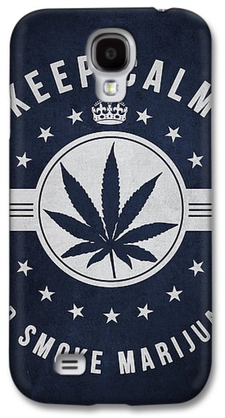 Weed Digital Galaxy S4 Cases - Keep calm and smoke marijuana - Navy Blue Galaxy S4 Case by Aged Pixel