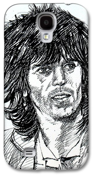 Keith Richards Paintings Galaxy S4 Cases - KEITH RICHARDS black ink portrait Galaxy S4 Case by Fabrizio Cassetta