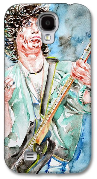 Keith Richards Paintings Galaxy S4 Cases - KEITH RICHARDS PLAYING the GUITAR watercolor portrait Galaxy S4 Case by Fabrizio Cassetta