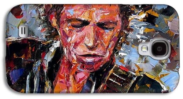 Keith Richards Paintings Galaxy S4 Cases - Keith Richards portrait Galaxy S4 Case by Debra Hurd