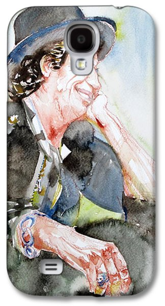 Keith Richards Paintings Galaxy S4 Cases - KEITH RICHARDS SITTING with CIGARETTE and SMILING watercolor portrait Galaxy S4 Case by Fabrizio Cassetta