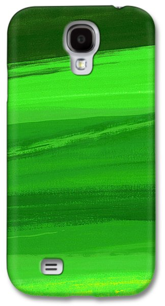 Abstracted Galaxy S4 Cases - Kensington Gardens Series My World Of Green 3 Oil On Canvas Galaxy S4 Case by Izabella Godlewska de Aranda