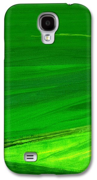 Abstracted Galaxy S4 Cases - Kensington Gardens Series My World Of Green 4 Oil On Canvas Galaxy S4 Case by Izabella Godlewska de Aranda