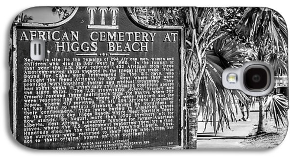 African-americans Photographs Galaxy S4 Cases - Key West African Cemetery Sign Landscape - Key West - Black and White Galaxy S4 Case by Ian Monk