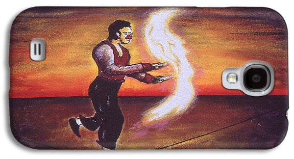 Juggling Drawings Galaxy S4 Cases - Key West Fire Juggler - Oil Painting Galaxy S4 Case by Peter Fine Art Gallery  - Paintings Photos Digital Art