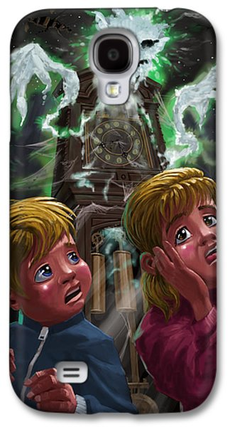Creepy Digital Art Galaxy S4 Cases - Kids with Haunted Grandfather Clock Ghost Galaxy S4 Case by Martin Davey