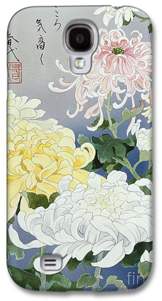 Purple Robe Galaxy S4 Cases - Kiku Crop I Galaxy S4 Case by Haruyo Morita