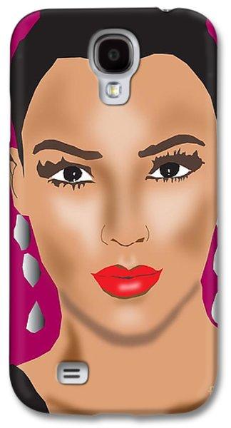 Kim Digital Art Galaxy S4 Cases - Kim Kardashian Galaxy S4 Case by Michael Chatman