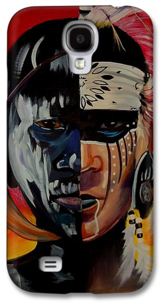 Native American Spirit Portrait Paintings Galaxy S4 Cases - Kindred Spirits I Galaxy S4 Case by Sherry Shiner