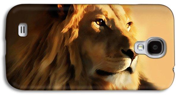 Animal Lover Digital Art Galaxy S4 Cases - King Lion Of Africa Galaxy S4 Case by Georgiana Romanovna