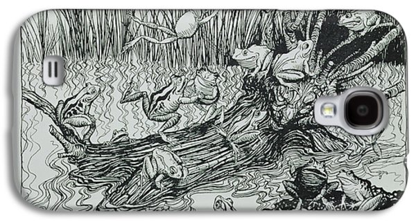 Frogs Photographs Galaxy S4 Cases - King Log, Illustration From Aesops Fables, Published By Heinemann, 1912 Engraving Galaxy S4 Case by Arthur Rackham