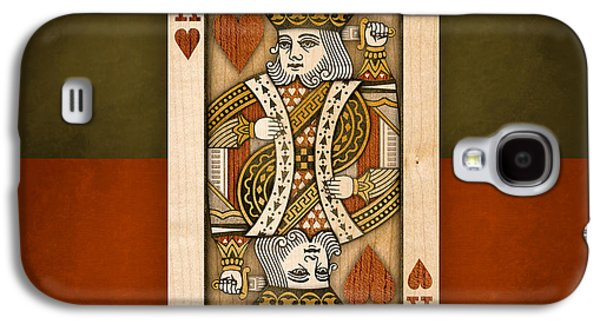 King Of Hearts In Wood Galaxy S4 Case by YoPedro